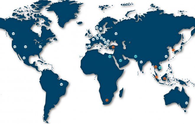 World map showing UX247 global locations