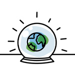 illustration of a crystal ball with the world in it