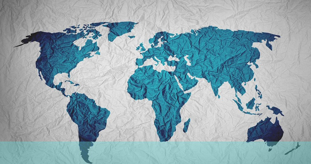 picture of the world map apparently on a crumpled sheet