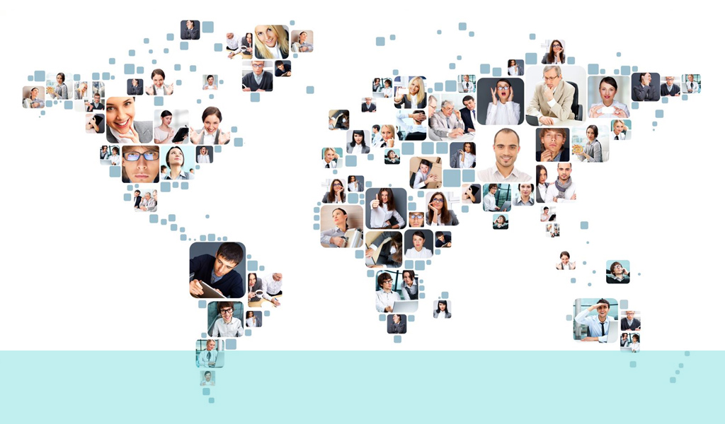 Image of the world with photos of people to create the shape of the countries