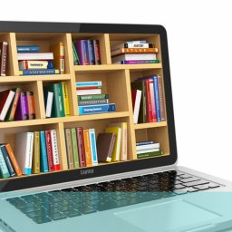picture of a book case embedded in a laptop screen
