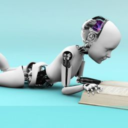 Picture of a robot reading a book