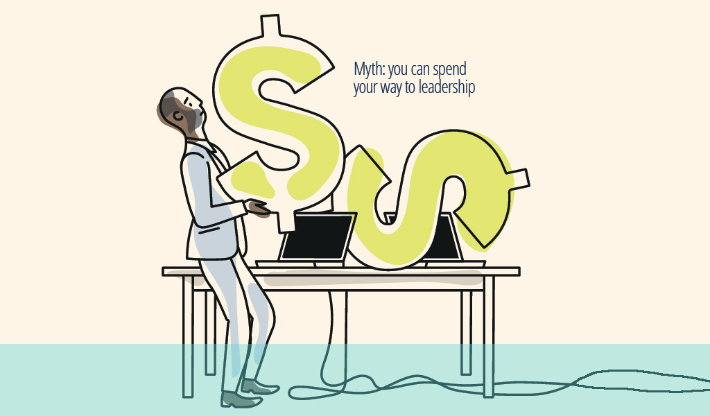 Illustration of man holding large dollar sign above computer