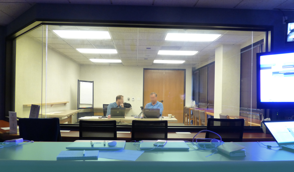 Photo of usability testing lab from the viewing room