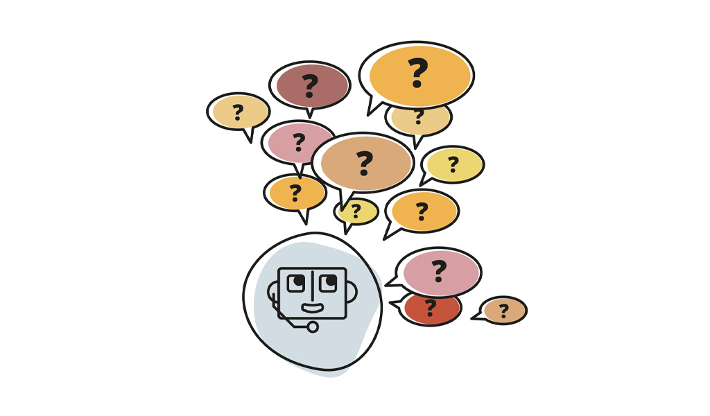 illustration of robot answering questions