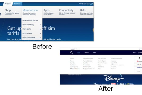 O2 before and after menu