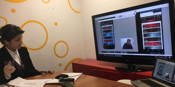 Picture of interpreter watching research via a monitor