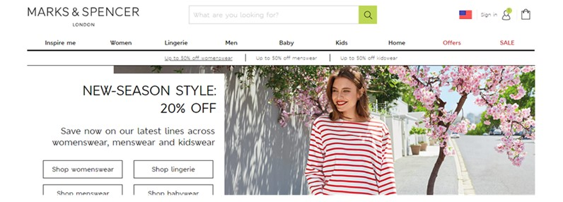 screen grab from m and s website