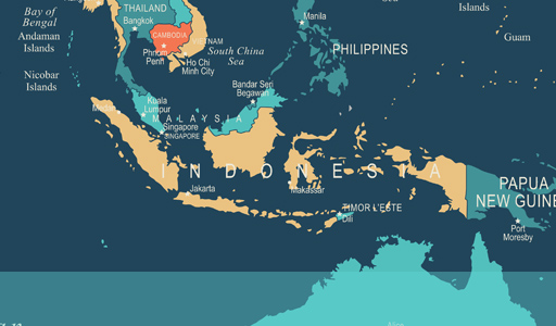 Map showing the location of Indonesia