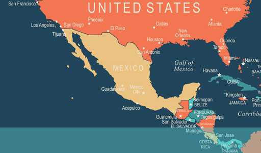 map showing the location of Mexico