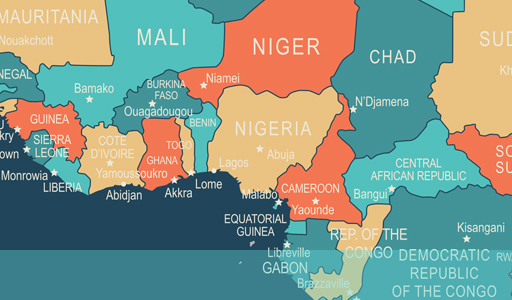 map showing location of Nigeria in the world