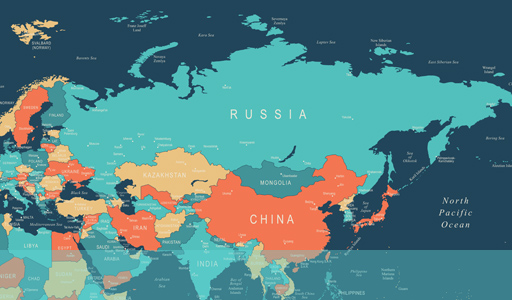 Map showing location of Russia in the world