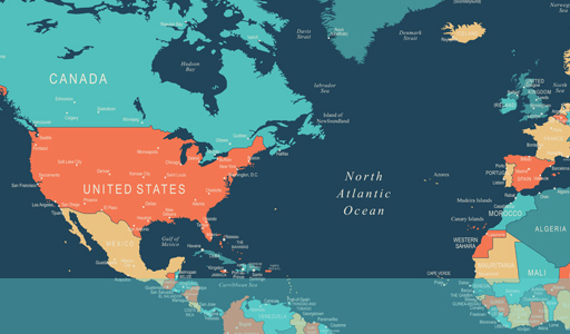 Map showing the location of USA in the World